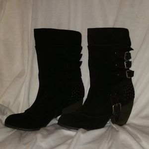 Leather Naughty Monkey Black Boots Studded 7.5